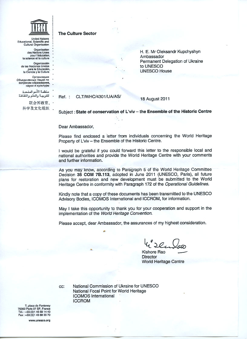 Letter from Kishore Rao, Director of the UNESCO World Heritage Center